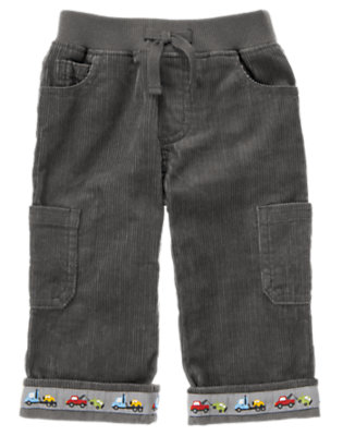 Baby Asphalt Grey Tow Truck Corduroy Cargo Pant by Gymboree