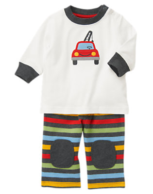 Jet Ivory/Asphalt Grey Stripe Tow Truck Two-Piece Set by Gymboree