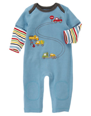 Tow Truck Blue Tow Truck Double Sleeve One-Piece by Gymboree