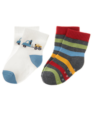 Jet Ivory/Asphalt Grey Stripe Tow Truck Sock Two-Pack by Gymboree