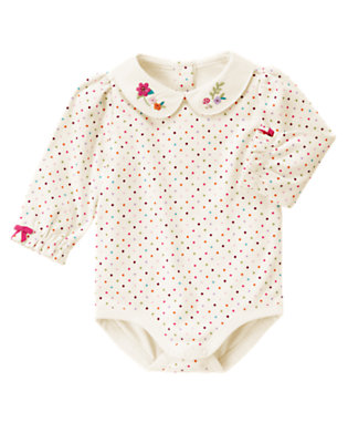 Baby Ivory Dot Flower Collar Dot Bodysuit by Gymboree