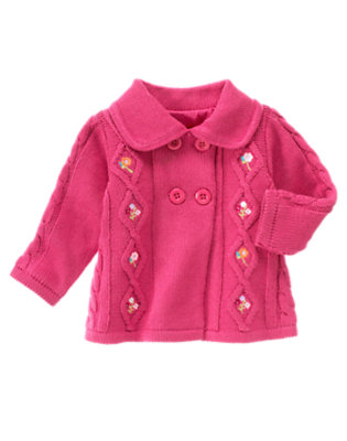 Baby Autumn Rose Embroidered Flower Cardigan by Gymboree