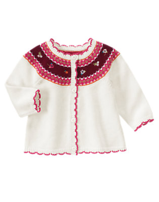 Ivory Fair Isle Fair Isle Cardigan by Gymboree