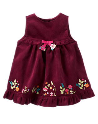 Baby Eggplant Purple Embroidered Flower Jumper by Gymboree