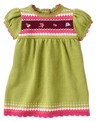 Fern Green Fair Isle Sweater Dress by Gymboree