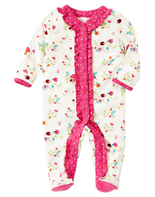 Hedgehog Floral Hedgehog Footed One-Piece by Gymboree