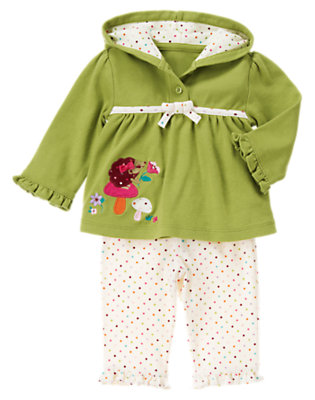 Fern Green/Ivory Dot Hedgehog Two-Piece Set by Gymboree