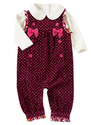 Ivory/Eggplant Purple Dot Bow Dot Overall Two-Piece Set by Gymboree