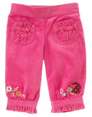 Autumn Rose Embroidered Flower Corduroy Pant by Gymboree