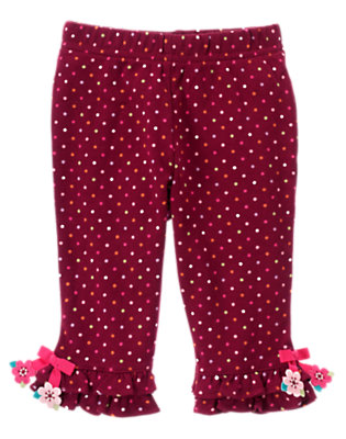 Eggplant Purple Dot Dot Knit Pant by Gymboree