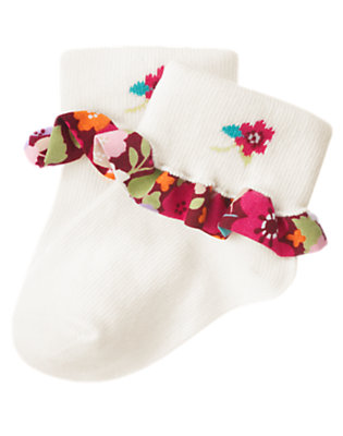 Baby Ivory Floral Ruffle Sock by Gymboree