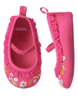 Autumn Rose Embroidered Flower Crib Shoe by Gymboree