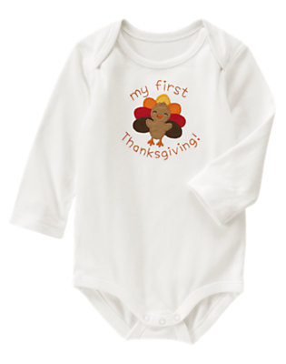 Ivory My First Thanksgiving Bodysuit by Gymboree