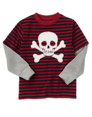 Flag Red Stripe Skull and Crossbones Stripe Double Sleeve Tee by Gymboree