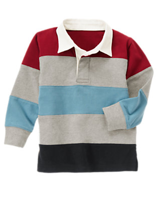 Heather Grey Pieced Stripe Rugby Shirt by Gymboree