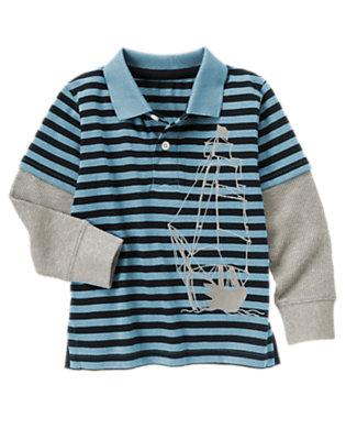 Slate Blue Stripe Pirate Ship Stripe Double Sleeve Polo Shirt by Gymboree