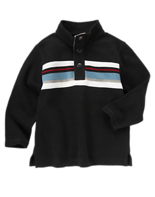 Black Stripe Half Snap Pullover by Gymboree