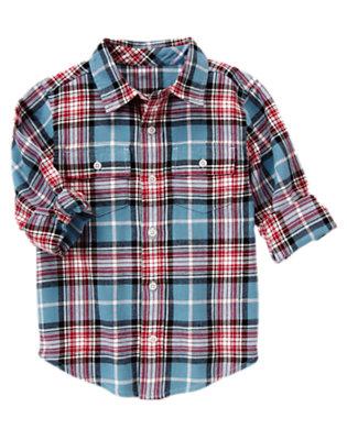 Slate Blue Plaid Slate Blue Plaid Flannel Shirt by Gymboree