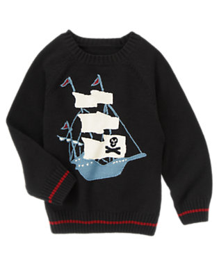 Boys Black Pirate Ship Sweater by Gymboree