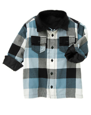 Boys Slate Blue Check Plaid Flannel Shacket by Gymboree