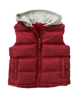 Flag Red Hooded Puffer Vest by Gymboree