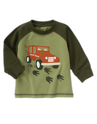 Toddler Boys Olive Green Jeep Tracker Raglan Tee by Gymboree