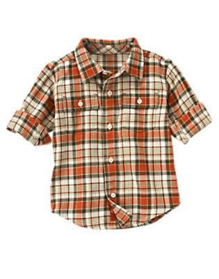 Toddler Boys Deep Orange Plaid Plaid Flannel Shirt by Gymboree