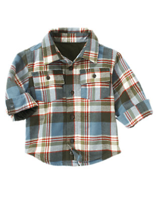 Prehistoric Blue Plaid Plaid Flannel Shacket by Gymboree
