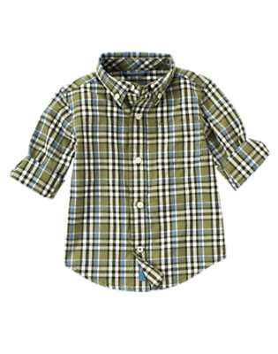 Toddler Boys Olive Green Plaid Plaid Shirt by Gymboree