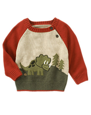Toddler Boys Deep Orange Triceratops Sweater by Gymboree