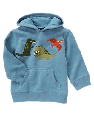 Toddler Boys Prehistoric Blue Dinosaur Hoodie by Gymboree