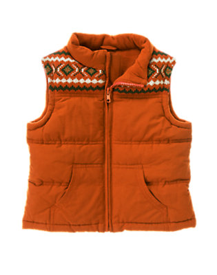 Toddler Boys Deep Orange Fair Isle Quilted Puffer Vest by Gymboree