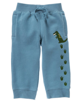 Prehistoric Blue Dinosaur Tracks Fleece Active Pant by Gymboree