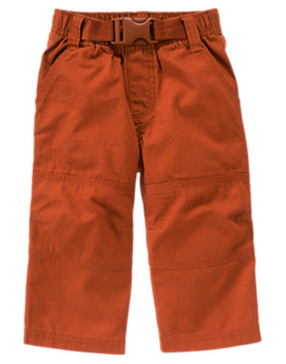 Deep Orange Knee Seam Ripstop Pant by Gymboree