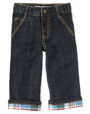 Denim Plaid Cuffed Carpenter Jean by Gymboree