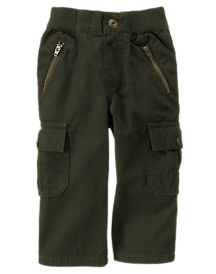 Green Dinosaur Zipper Canvas Cargo Pant by Gymboree