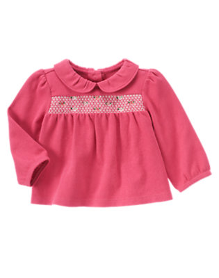 Baby Holiday Pink Smocked Embroidered Top by Gymboree