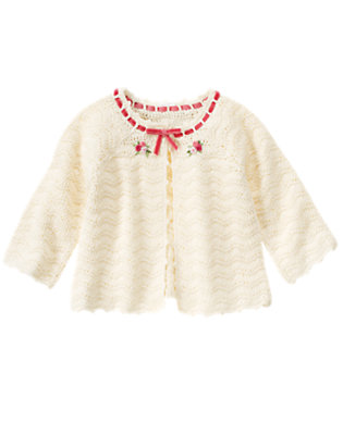 Antique Ivory Hand-Embroidered Sweater Cardigan by Gymboree