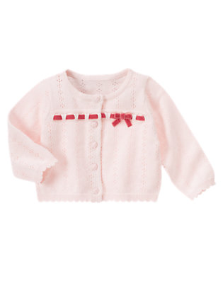 Softly Pink Pointelle Sweater Cardigan by Gymboree
