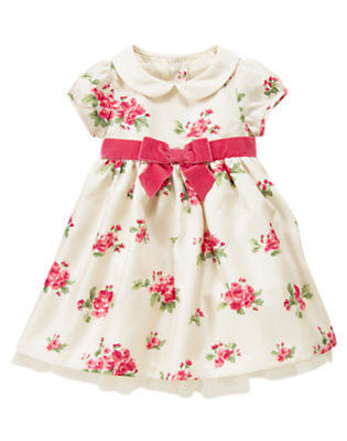 Antique Ivory Floral Floral Duppioni Dress by Gymboree