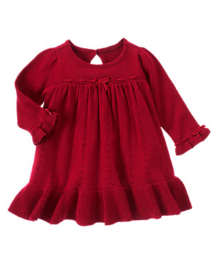 Baby Holiday Red Velveteen Ribbon Sweater Dress by Gymboree