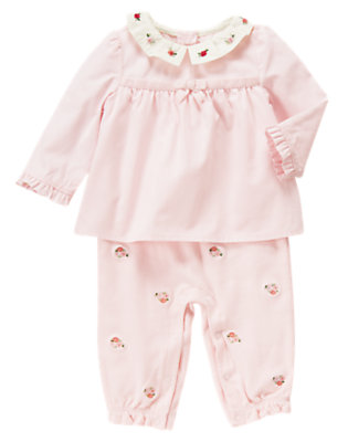Baby Softly Pink Hand-Embroidered Collar One-Piece by Gymboree