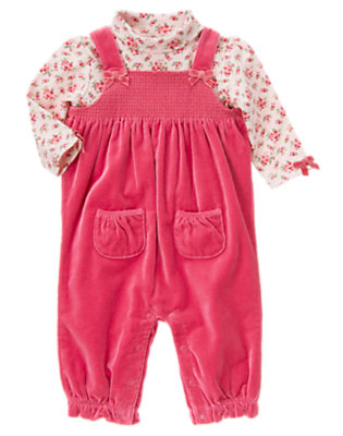 Baby Holiday Pink Floral Velveteen Overall Two-Piece Set by Gymboree