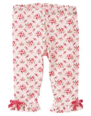 Baby Softly Pink Floral Floral Bow Legging by Gymboree