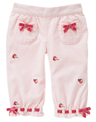 Softly Pink Velveteen Flower Pant by Gymboree