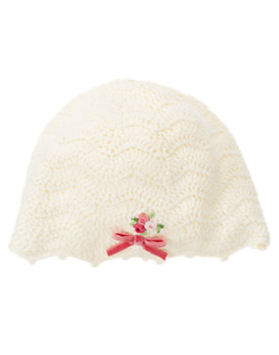 Antique Ivory Hand-Embroidered Sweater Hat by Gymboree