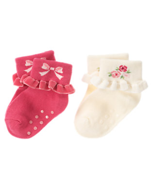 Antique White/Holiday Pink Velveteen Ruffle Sock Two-Pack by Gymboree
