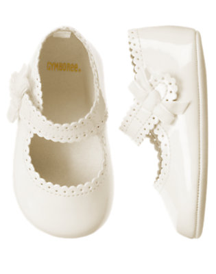 Antique Ivory Mary Jane Patent Crib Shoe by Gymboree