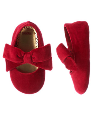 Holiday Red Velveteen Bow Crib Shoe by Gymboree