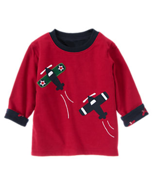 Holiday Red Airplane Reversible Tee by Gymboree